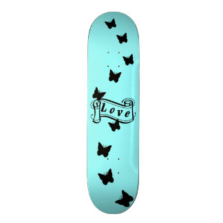 Girly skateboard in ice blue with Butterfly