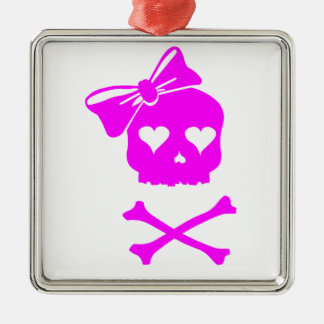 Girly Skull and Cross Bones Christmas Ornament
