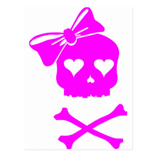 Girly Skull and Cross Bones Postcard