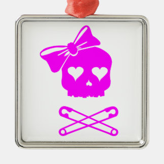 Girly Skull and Crossed Safety Pins Christmas Ornament