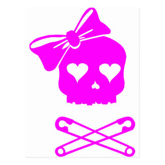 Girly Skull and Crossed Safety Pins Postcard