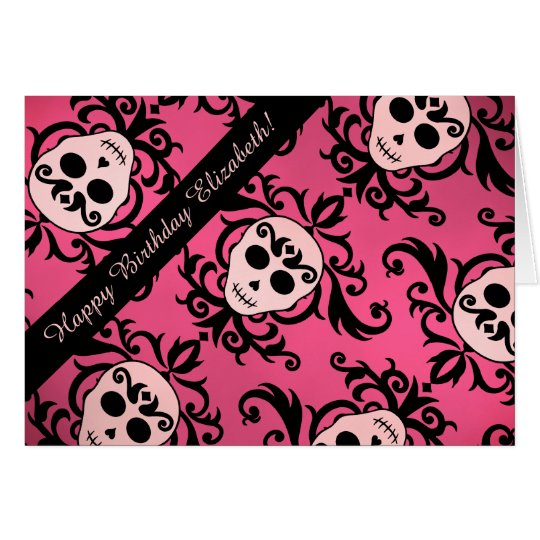 Girly skull Birthday Card