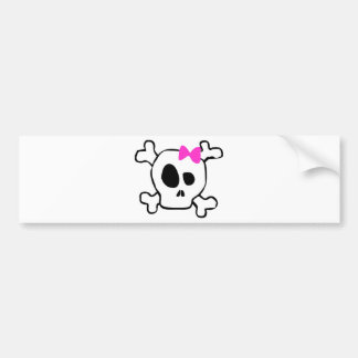 Girly skull bumper sticker