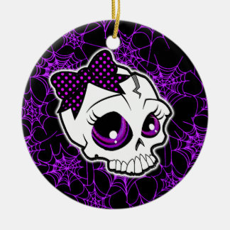Girly Skull Christmas Ornament