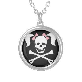 Girly Skull & Crossbone Round Silver Necklace