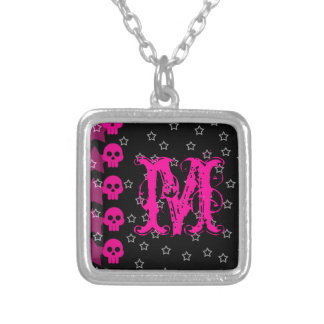Girly Skull EMO Punk Rock Rocker Monogram Necklace