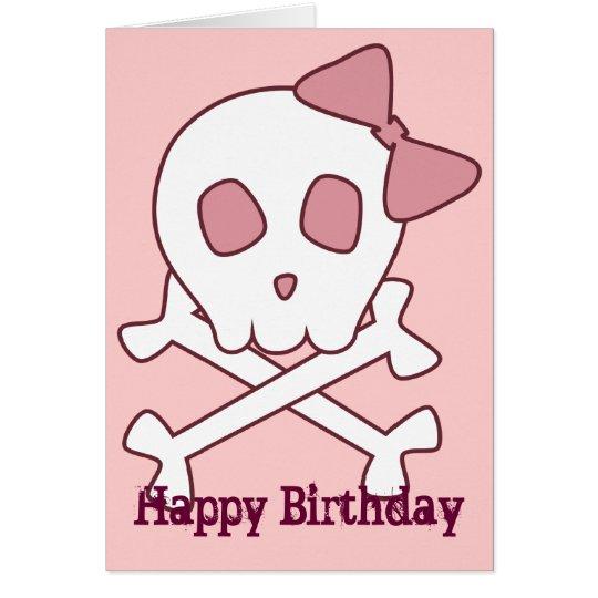 Girly Skull Greeting Card