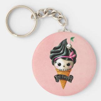 Girly Skull Ice Cream Cone Keychain
