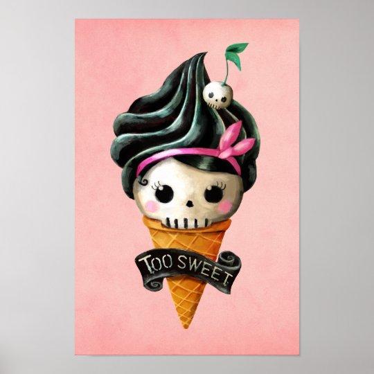 Girly Skull Ice Cream Cone Poster