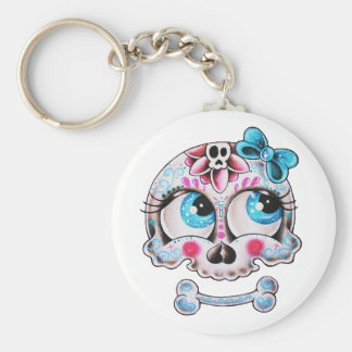 Girly skull key ring