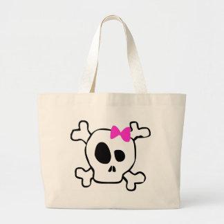 Girly skull large tote bag