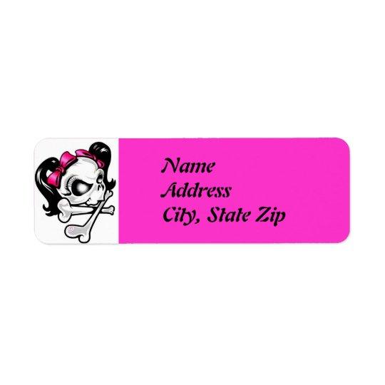 Girly Skull Return Address Label