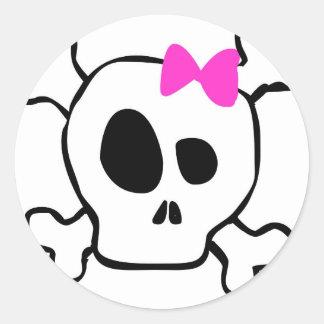 Girly skull round sticker