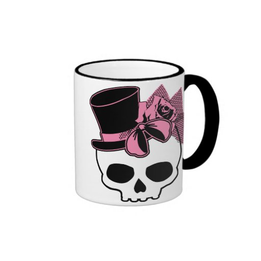 Girly Skull with Hat and Pink Bow Ringer Mug