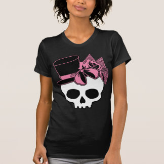 Girly Skull with Hat and Pink Bow T-Shirt