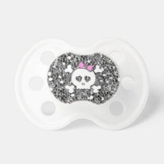 Girly Skull with Pink Bow on Silver Glitter Look Pacifiers