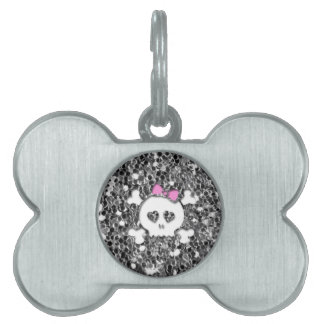 Girly Skull with Pink Bow on Silver Glitter Look Pet Tag