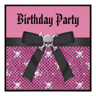 Girly Skulls Polka Dots Pink Birthday Invites