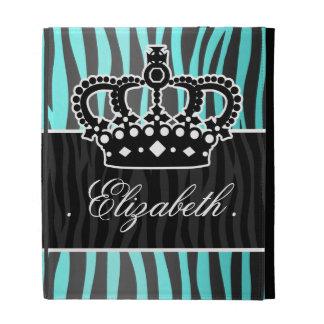 Girly sky blue and black zebra print iPad folio cover