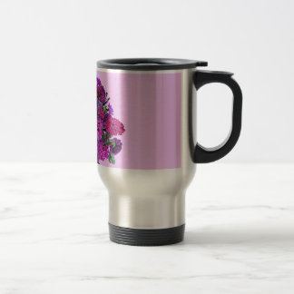 Girly Soft Lilac with Pretty Purple Flowers 2 Stainless Steel Travel Mug