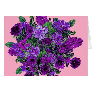 Girly Soft Pink with Pretty Purple Flowers Greeting Card