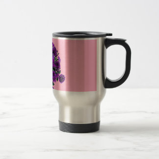 Girly Soft Pink with Pretty Purple Flowers Travel Mug