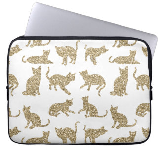 Girly Sparkly Cats White Laptop Computer Sleeve