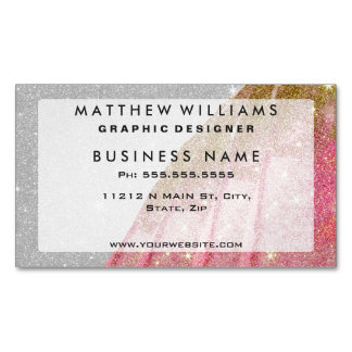 Girly Sparkly Pink and Gold Faux Glitter on White Magnetic Business Card