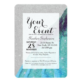 Girly Sparkly Teal Blue and Black Faux Glitter 13 Cm X 18 Cm Invitation Card