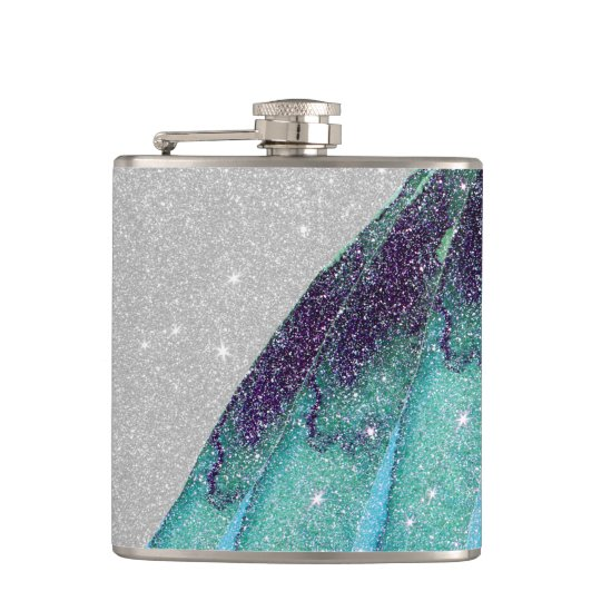 Girly Sparkly Teal Blue and Black Faux Glitter