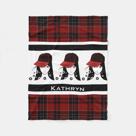 Girly & Sporty Girl Red Plaid Fleece Blanket