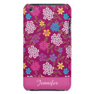 Girly Spring and Summer Wild Flowers, magenta name Barely There iPod Covers