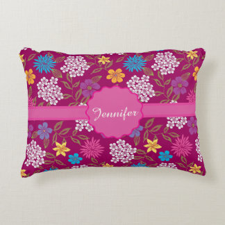 Girly Spring and Summer Wild Flowers, magenta name Decorative Cushion