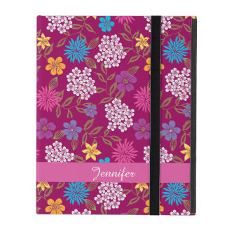Girly Spring and Summer Wild Flowers, magenta name iPad Cover