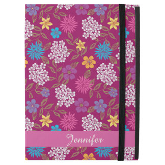 """Girly Spring and Summer Wild Flowers, magenta name iPad Pro 12.9"""" Case"""