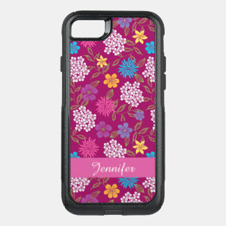 Girly Spring and Summer Wild Flowers, magenta name OtterBox Commuter iPhone 8/7 Case