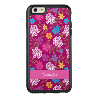 Girly Spring and Summer Wild Flowers, magenta name OtterBox iPhone 6/6s Plus Case
