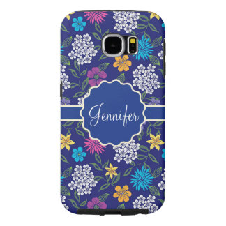 Girly Spring and Summer Wild Flowers, on blue name Samsung Galaxy S6 Cases