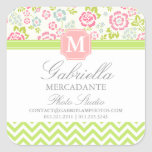 Girly Spring Floral Chevron Personalised Monogram Square Stickers