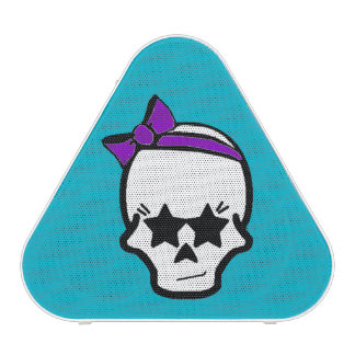 Girly Starry Eyed Skull with a Purple Bow