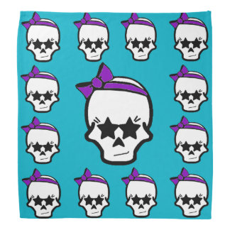 Girly Starry Eyed Skull with a Purple Bow Bandana