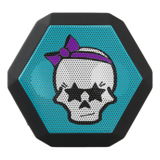 Girly Starry Eyed Skull with a Purple Bow Black Boombot Rex Bluetooth Speaker