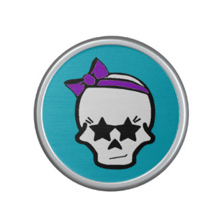 Girly Starry Eyed Skull with a Purple Bow Speaker