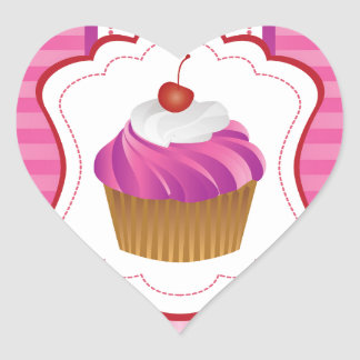 Girly stripes and Cupcakes Heart Sticker
