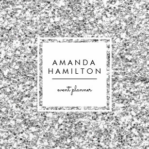 Funky business cards business card printing zazzle uk girly stylish fashion silver glitter white square square business card reheart Image collections