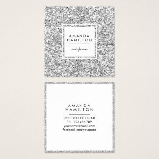 Girly Stylish Fashion SILVER Glitter white square Square Business Card