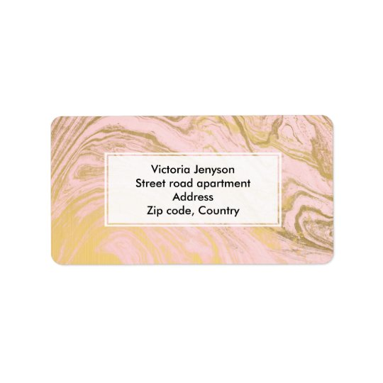 Girly stylish gold marble Millennial pink pattern Label