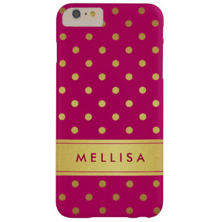 Girly Stylish Pink Gold Glitter Polka Dots Barely There iPhone 6 Plus Case