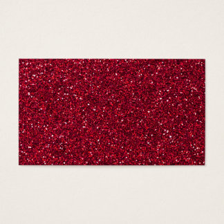 Girly Stylish Red Glitter Photo Print Business Card