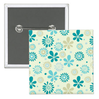 Girly Stylish Teal Blue Daisy Floral Pattern 2 Inch Square Button